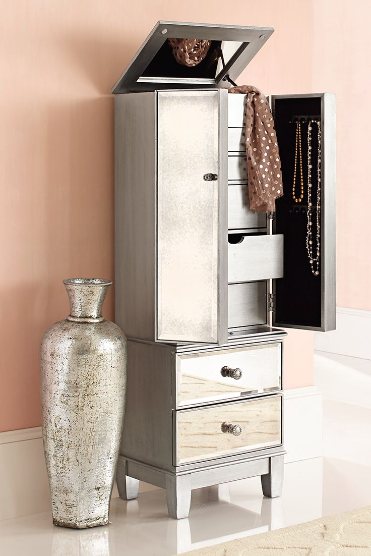 Hayworth Mirrored Silver Jewelry Armoire | Mirror jewelry ...