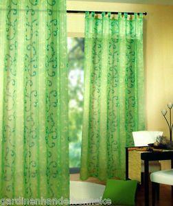 1 Schlaufenschal  Vorhang Gardine Fertigstores transparent grün Rankenmuster