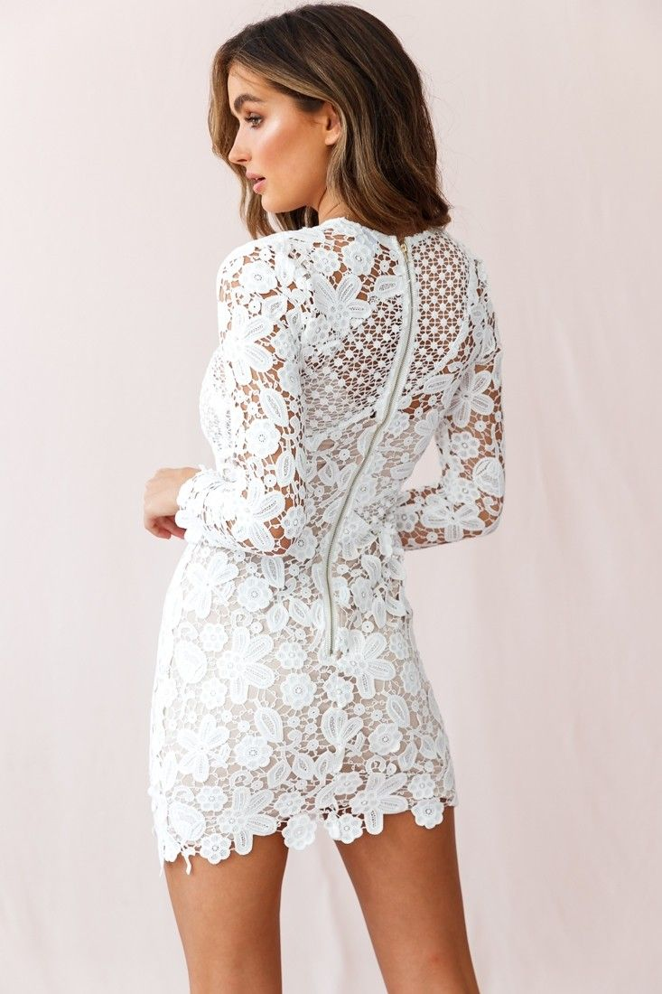 948d02ae43bc Buy the Reinhart Floral Asymmetrical Mesh Dress White | Selfie Leslie