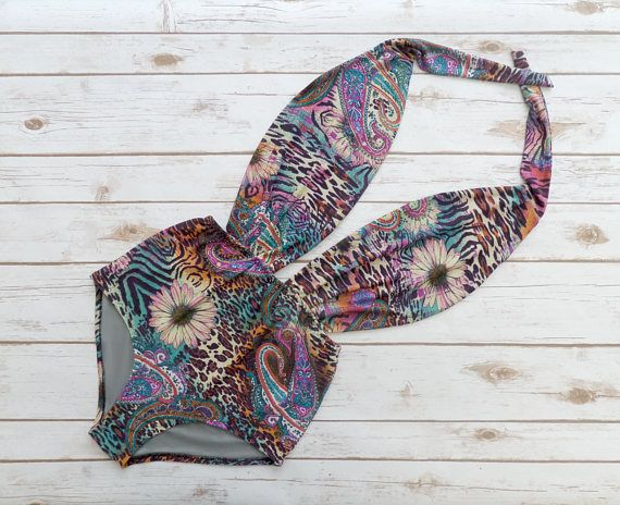 Swimsuit High Waisted Vintage Bohemian Style One Piece