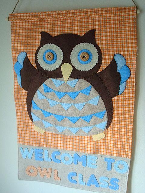 owl classroom bannerDiy Sewing, Classroom Banners, Classroom Decor, Classroom Dyi, Owls Classroom, Dyi Owls, Schools Ideas, Owls Banners, Classroom Ideas