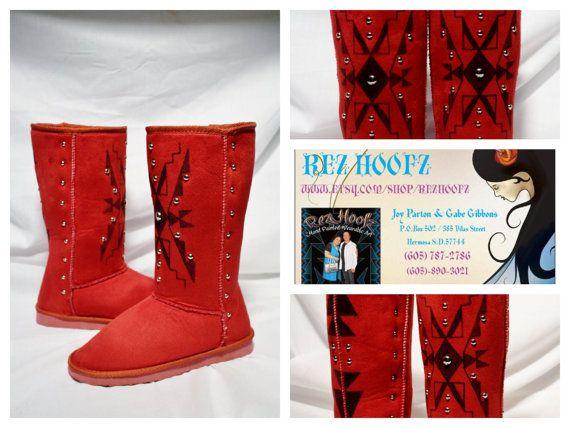 Native Boots by Rez Hoofz Size 7.5 by REZHOOFZ on Etsy, $89.95
