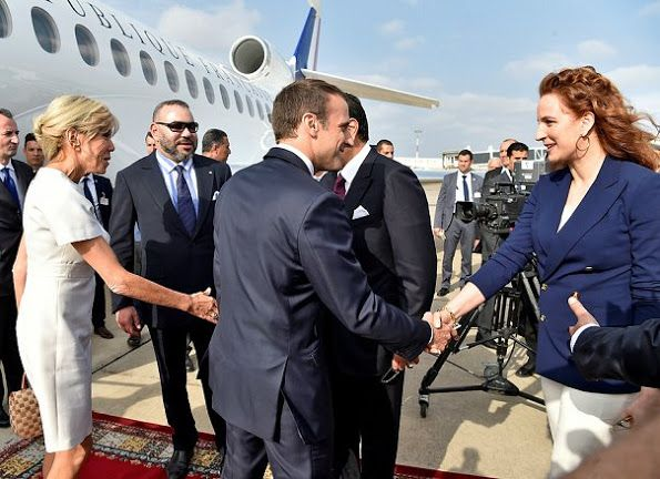 King Mohammed of Morocco, Princess Lalla Salma and Prince Moulay Rachid welcomed President Emmanuel Macron of France and his wife Brigitte Macron at Rabat-Sale Airport on June 14, 2017. President Macron of France and his wife are presently making an official visit to Morocco upon invitation of King Mohammed