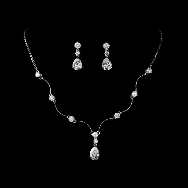 Favorite bridesmaid jewelry!  Silver Plated with Cubic Zirconia crystals - so nice!