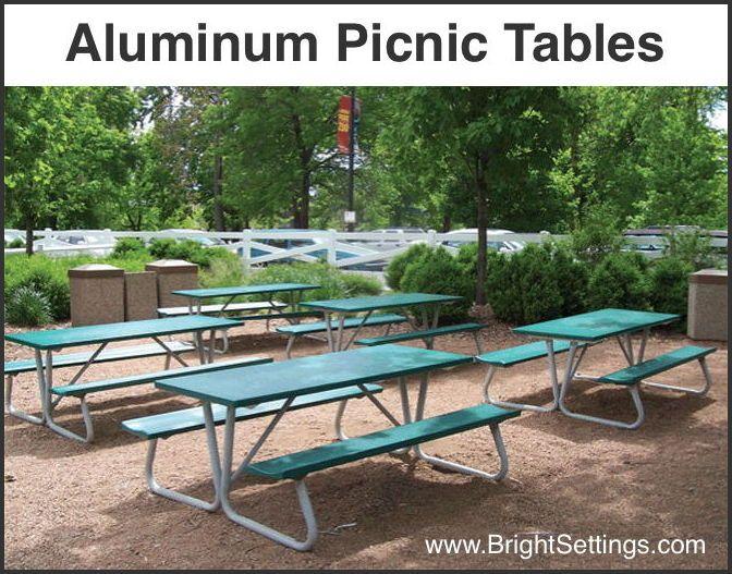 Bright Settingsu0027 Aluminum Picnic Tables Wonu0027t Dent, Warp, Crack Or Chip