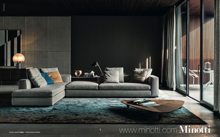 The color scheme rocks. Aside from that- Minotti adds drama by using monochrome designs and adding one or two gem colors to great effect. Minotti, Powell style: Elle Decoration