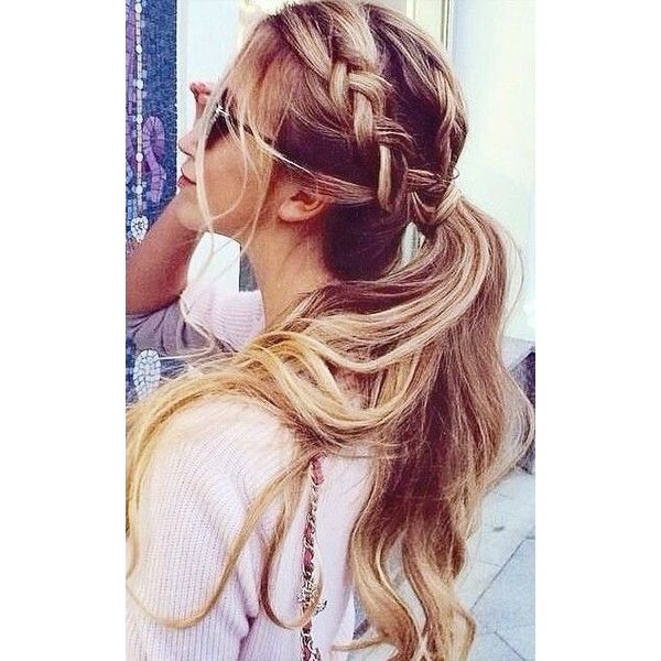 Braided ponytail. | H a i r | Pinterest ❤ liked on Polyvore featuring hair, hairstyles and hair styles