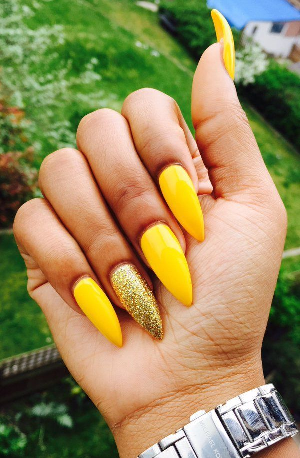 Yellow Acrylic Nails Coffin New Expression Nails Yellow Nails Yellow Nail Art Yellow Nails Design