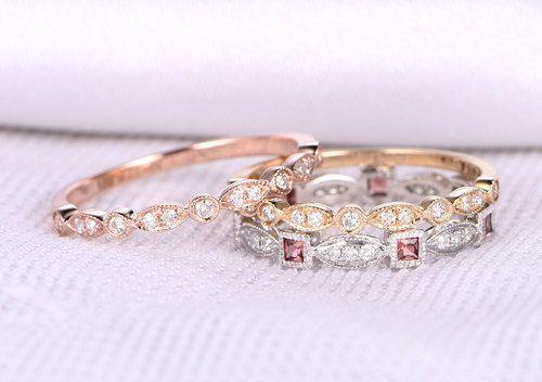 3pcs Wedding Ring Set,Natural Garnet Wedding ring in 14k white gold,Art Deco Half eternity diamond Matching Band,14k Rose/Yellow Gold