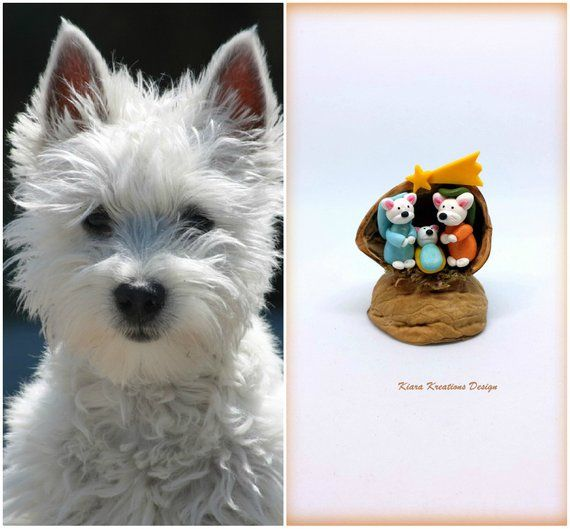 West Highland Terrier Dog Nativity Set In A Walnut Shell Nativity Scene For A Westie Lover Gift Miniature Nativity With Westie Sculpture West Highland Terrier Highlands Terrier Terrier Dogs
