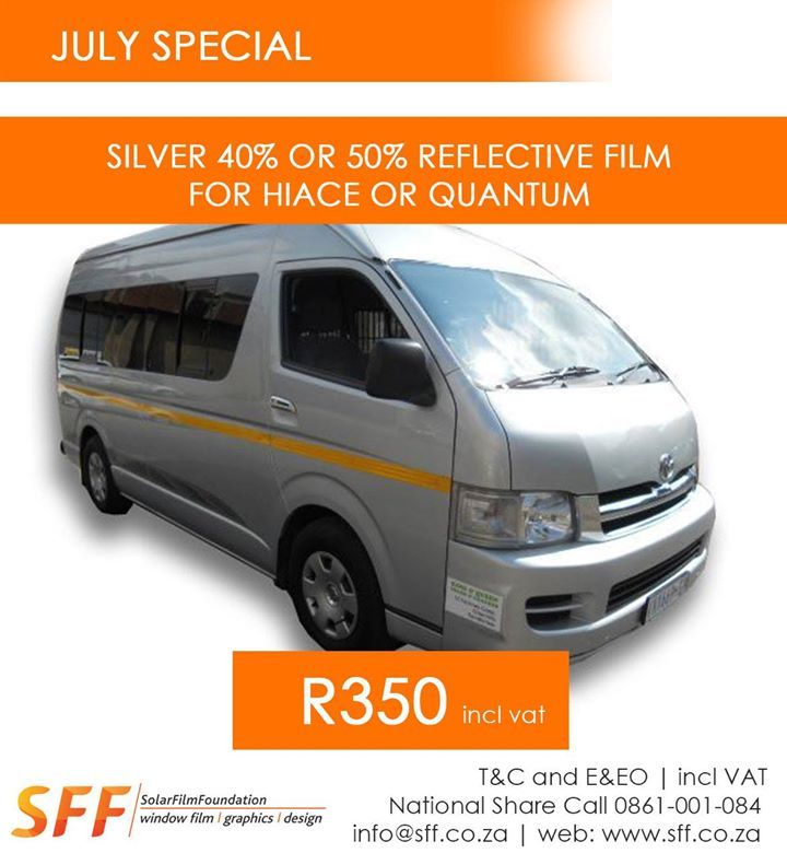 Silver 40% or 50% Reflective Film for Hiace or Quantum @ R350 incl vat