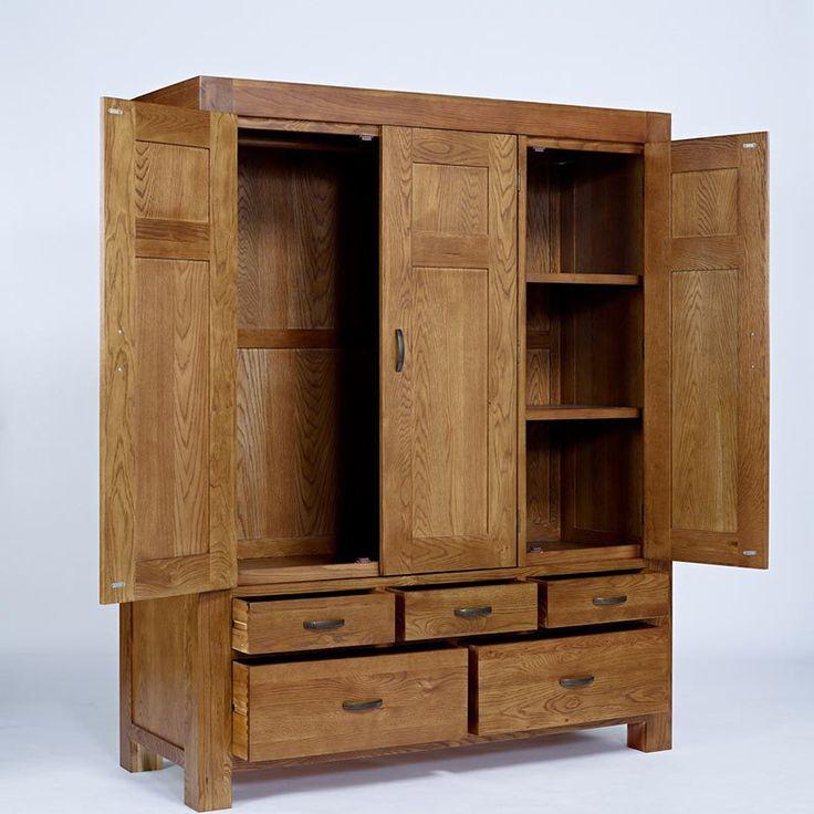 Santana Rustic Solid Oak Wardrobe (Sizes Single, Double, Triple) -  - Wardrobe - Ametis - Space & Shape - 4