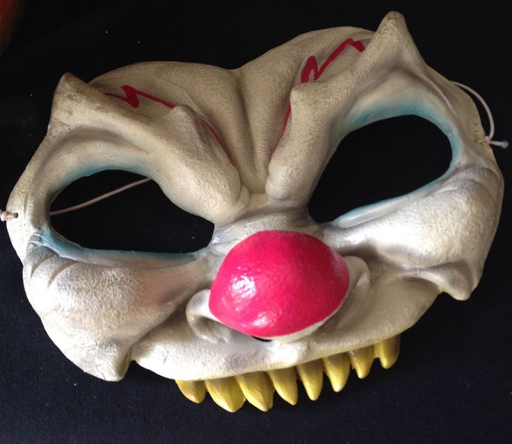 Vintage Scary Zombie Killer Clown Rubber Mask Halloween Evil Adult Size. From eBay.