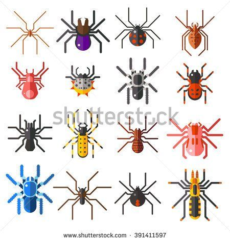 stock-vector-flat-spiders-cartoon-scary-symbols-and-spiders-insect-flat-design-set-of-flat-spiders-cartoon-391411597.jpg (450×470)