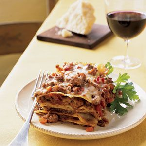 Northern- Style Lasagna   Note: Fontina cheese substitute = mild provolone or gouda  Healthier Option: substitute cheese for 1% cottage cheese