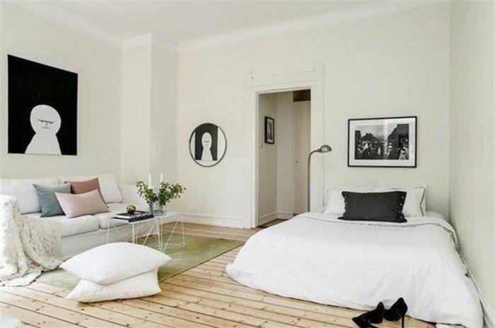 plan studio 20m2, déco studio étudiant, tapis vert, table de salon en fer blanc…
