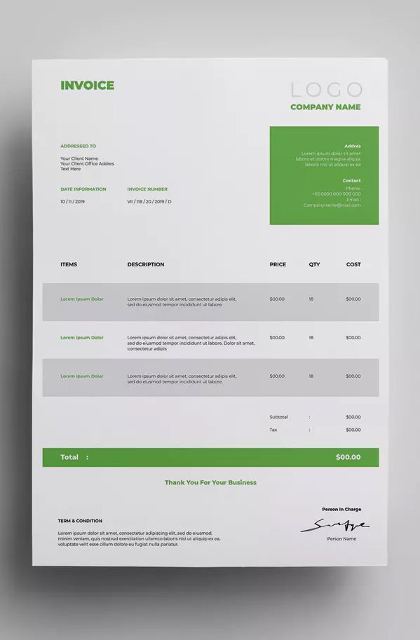 a4 invoice template ai eps easy customizable