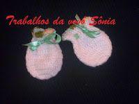 Trabalhos da vovó Sônia: Luvas para bebê - branca ou lilás - crochê