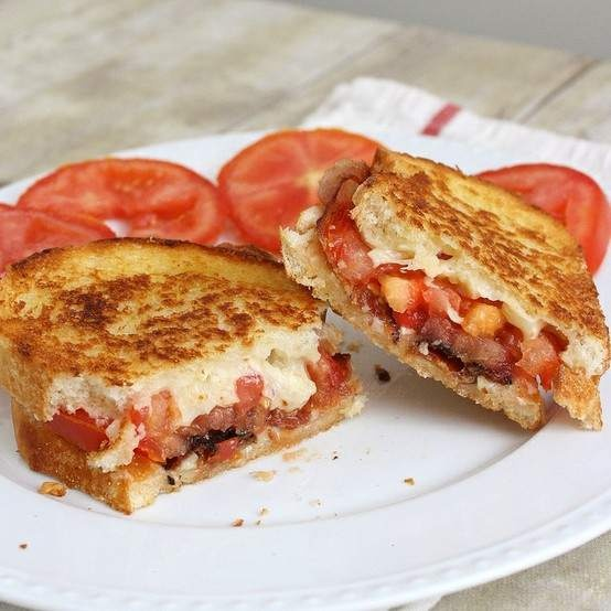 garlic-rubbed grilled cheese with bacon and tomatoes from tracey's ...