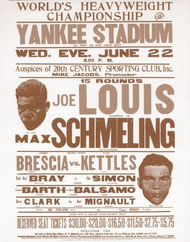"Joe Louis Vs Max Schmeling Heavyweight Championship 11"" X 14"" Boxing Sepia Poster"