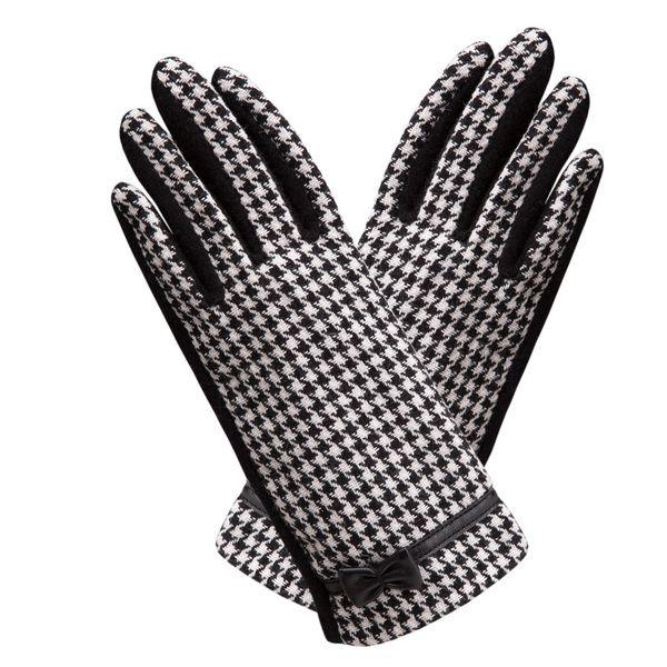 Fashion Houndstooth Bow Gloves - Overstock™ Shopping - Big Discounts on Women's Gloves
