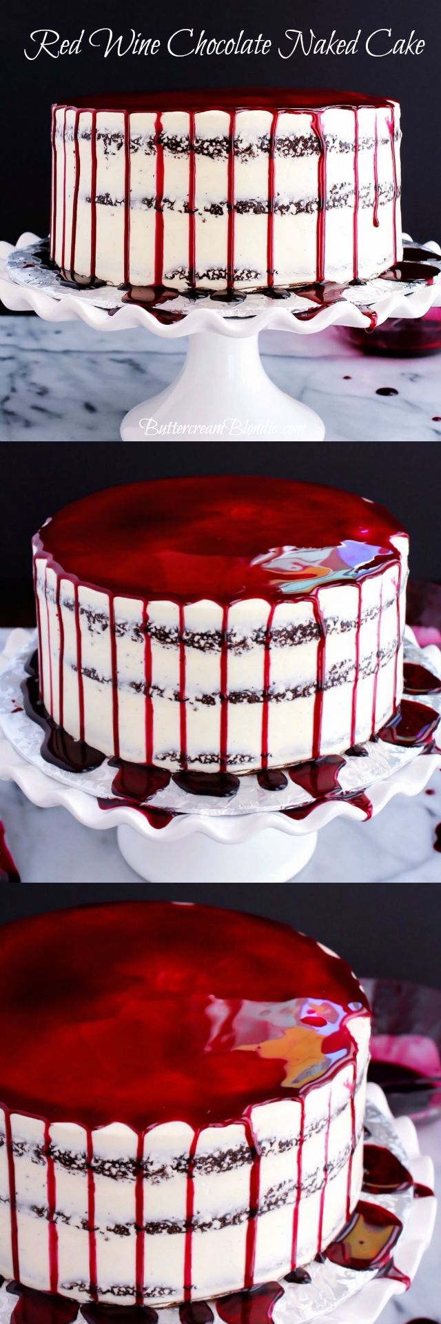 Red Wine Chocolate Naked Cake - Red wine chocolate cake filled with vanilla bean mascarpone frosting and topped with a sweet wine reduction is a party waiting to happen!   ButtercreamBlondie.com