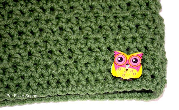 Scaldacollo gufetto - Crochet owl cowl di perfiloesegnostore su Etsy