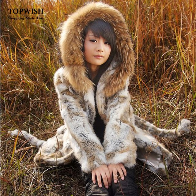 Women New Real Natural Rabbit fur Coat with Raccoon Fur Collar Jacket Female design Warm Winter TP141 US $98.46-107.46 To Buy Or See Another Product Click On This Link  http://goo.gl/yekAoR