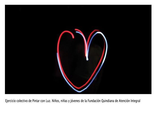 Ejercicio colectivo de niños, niñas y jóvenes de Fundación Quindiana Atención Integral.
