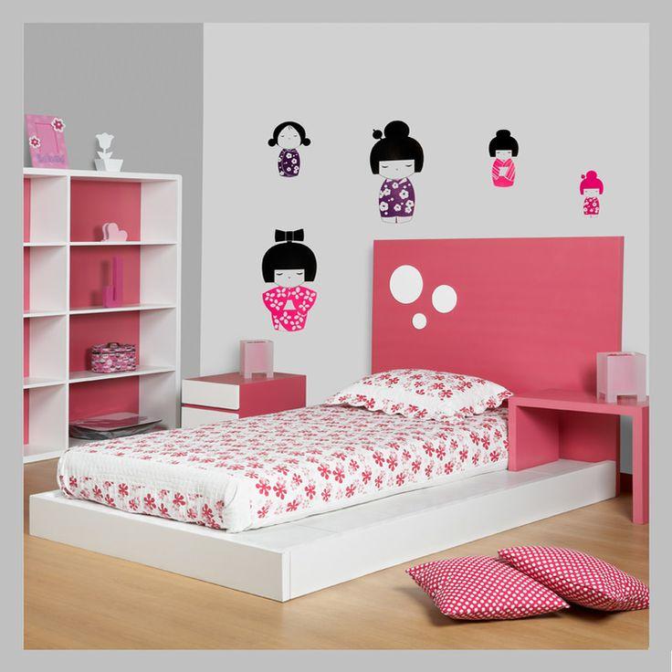 Cama moderna bi-color para niña C-03-100.jpg
