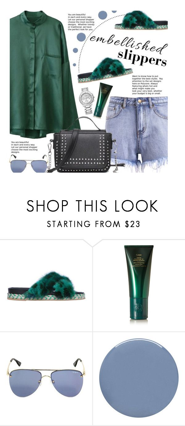 """Magic Slippers: Embellished Shoes (casual)"" by beebeely-look ❤ liked on Polyvore featuring Mr & Mrs Italy, Oribe, Le Specs, Deborah Lippmann, casual, casualfriday, sammydress, denimshorts and embellishedshoes"