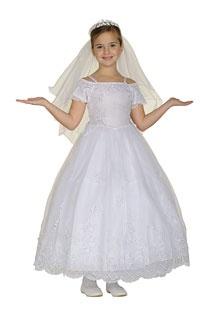 Flower Girl Dresses - Girls Dress Style 1064- WHITE Short Sleeve Organza Embroidered Dress