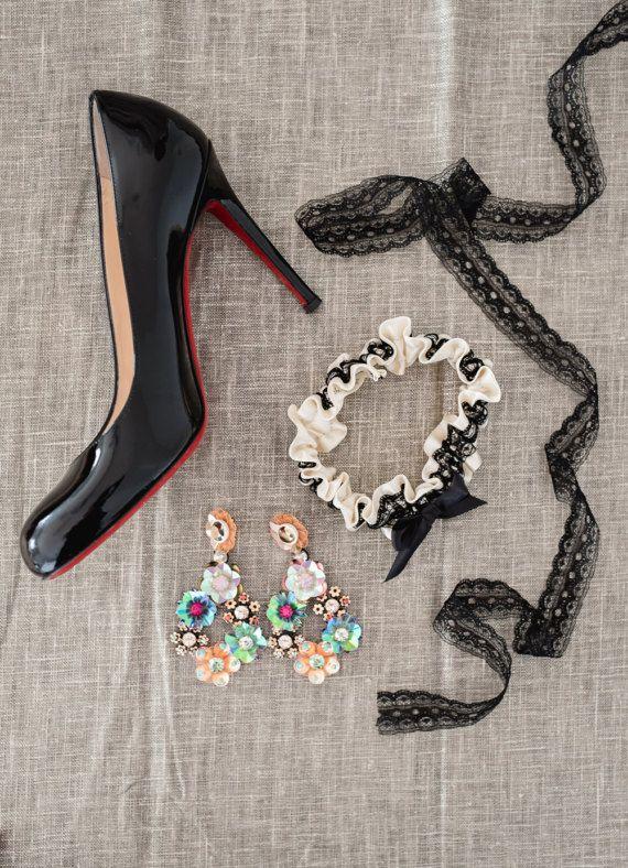 Black Lace Garter Set Lingerie Toss Tossing Sexy Wedding