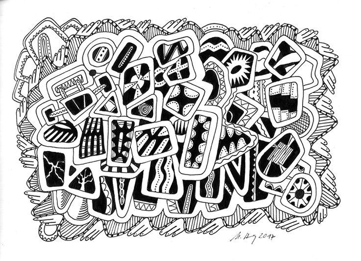 """""""play with me"""", #Zeichnung #Pigmenttusche (Staedtler Pigment Fineliner) auf #Hahnemühle #Papier """"Nostalgie"""", 190 g/m2 21 x 29,7 cm, © #matthias #hennig 2017    """"play with me"""", #india #ink #drawing (Staedtler Pigment Fineliner) on Hahnemühle #paper """"Nostalgie"""",190 g/sqm 21 x 29,7cm, © #matthias #hennig 2017 #myStaedtler #hennigdesign #artwork #moremoneyforartists #unexpected"""