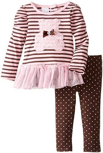 Young Hearts Baby Girls 2 Piece Bear Design Shirt and Legging Set Pink 18 Months >>> Find out more about the great product at the image link.