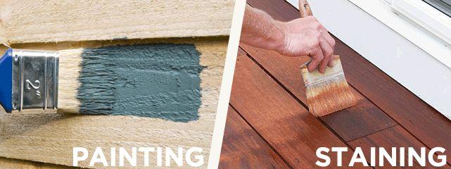 스테인과 페인트의 차이점. 스테인은 염료. 페인트는 안료. 염료는 물체 내부에 스며들어서 색을 침착시킴. 안료는 물체 내부에 스며들지않고, 도료가 표면에 붙어서 색을 입힘.  값싼 합판 같은 것으로 만든 가구는 페인트를 칠하거나 합성수지로 된 시트지를 입힘.