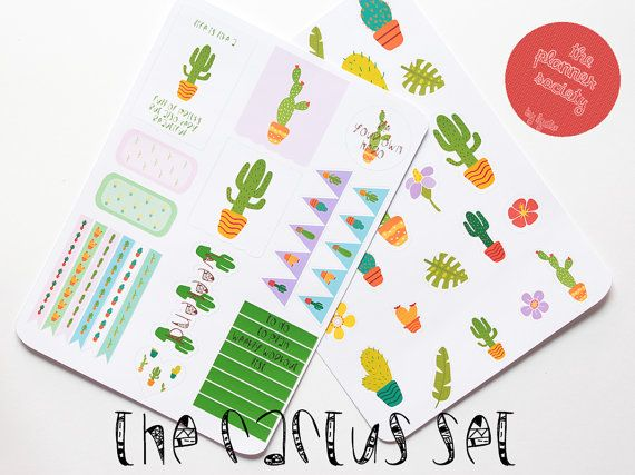 The Cactus Stickers Set di ThePlannerSociety su Etsy