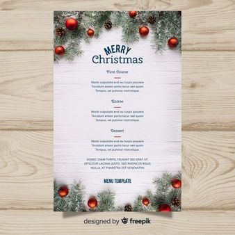 elegant christmas menu template with photo christmas pinterest