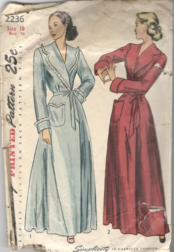 Simplicity 2236 1940s Misses Housecoat Robe Pattern Wide Notched Shawl  Collar Shaped Pocket Womens Vintage Sewing Pattern Size 18 Bust 36 2bb27733a
