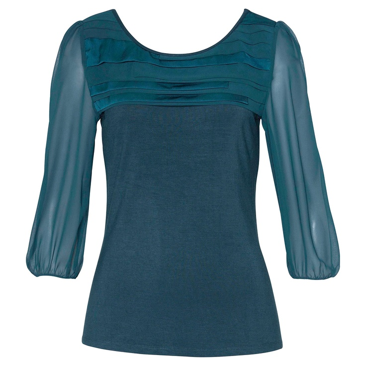 Multi Panel Yoke Top - Portmans #Top #Shirt #Aqua #Teal #Sleeves: Yoke Tops, Portman Tops, Tops Shirts