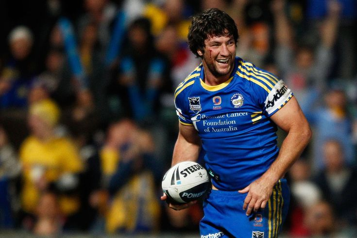 Nathan Hindmarsh of the Eels celebrates after scoring a try against the Roosters during the round 23 NRL match between the Parramatta Eels and the Sydney Roosters at Parramatta Stadium on August 11, 2012 in Sydney, Australia.