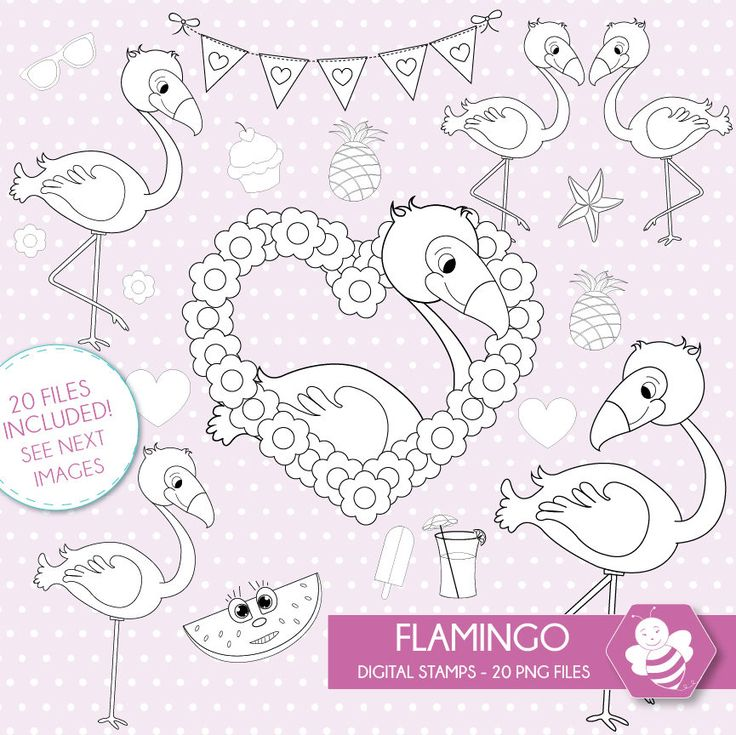 Flamingo digital stamps, digital stamp pack, flamingo stamp, vector graphics, DS0039 by Sweetdesignhive on Etsy