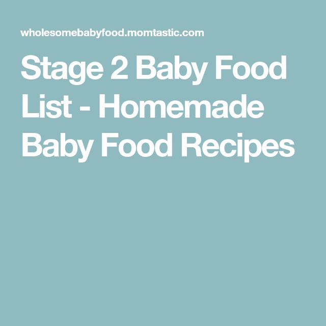 Stage 2 Baby Food List - Homemade Baby Food Recipes