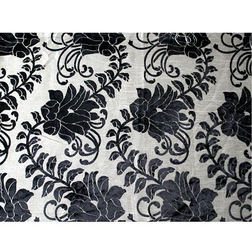Black Ivy Garden  Burnout Velvet on Fancy Fabric by FabricMart