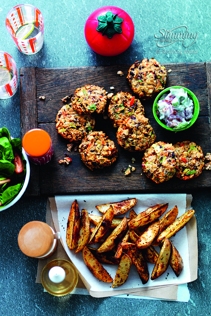 This super-satisfying, super-tasty vegetarian bean burgers makes a cheap after-work meal for all the family. We've served them with tempting Cajun wedges and a refreshing chunky sauce.   http://www.slimmingworld.co.uk/recipes/chunky-bean-burgers-with-cajun-wedges.aspx