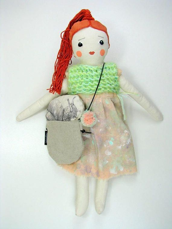 This is Ofelia, she has reddish hair, nostalgic look, she loves to run on the meadow and search for snails....:)   One of a kind heirloom handmade cotton and linen textile doll, my own pattern, made with love and attention to detail. I use good quality, natural textile , safe and no