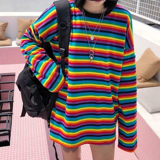 Rainbow Extra Long Sleeve Tee Aesthetic Clothes Rainbow