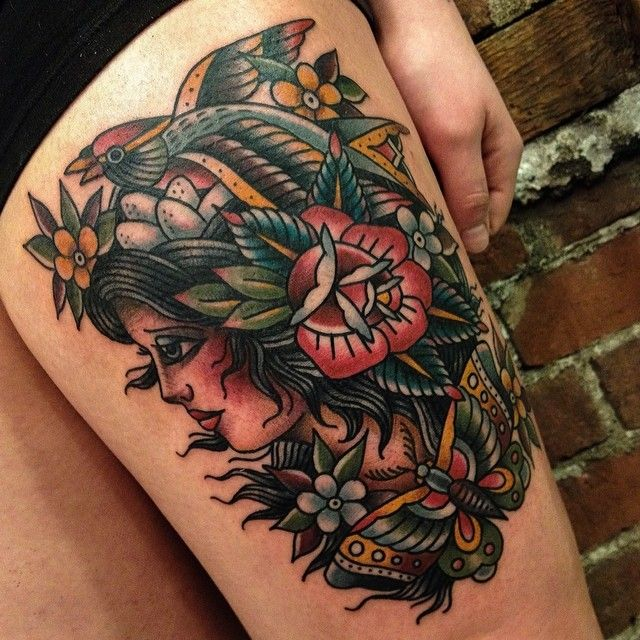 Mother Nature #gastowntattoo #tattoo #traditional #mothernature #ladyhead