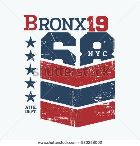 Vector illustration on the theme of New York City, Bronx. Vintage design. Grunge background. Number sport typography, t-shirt graphics, poster, print, banner, flyer, postcard