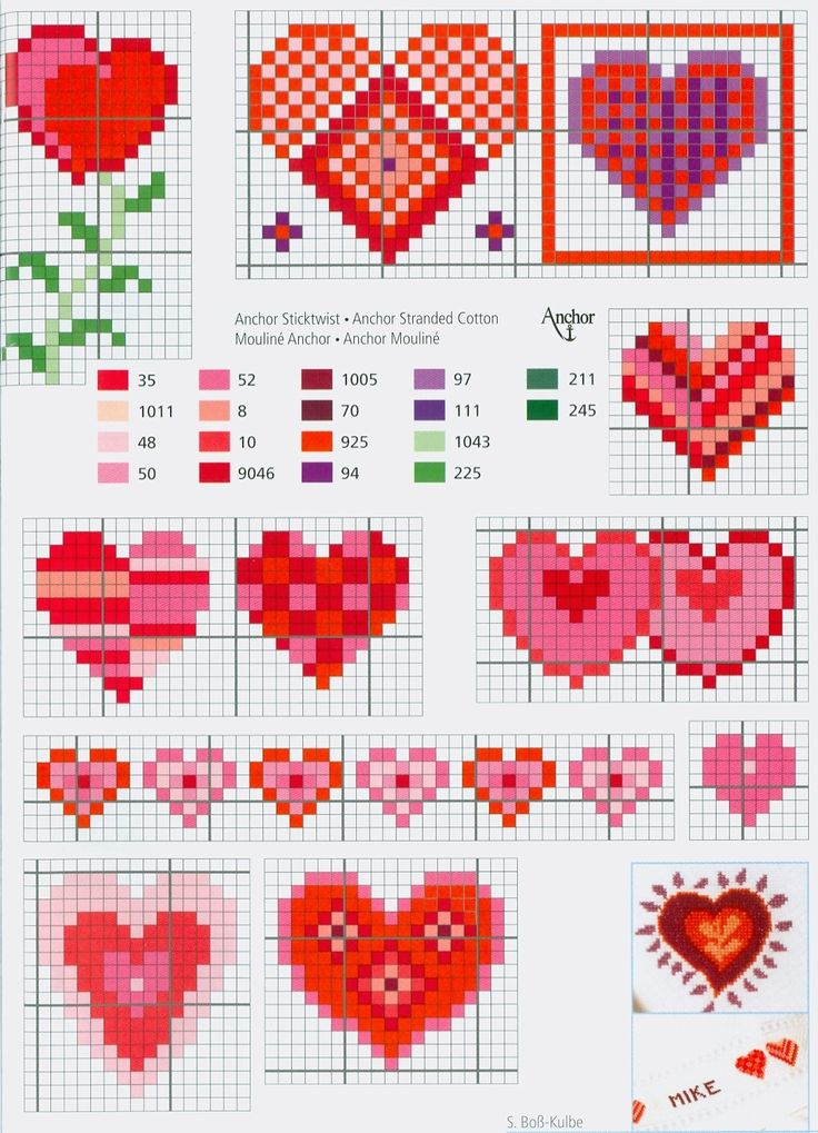 Hearts free cross stitch patterns